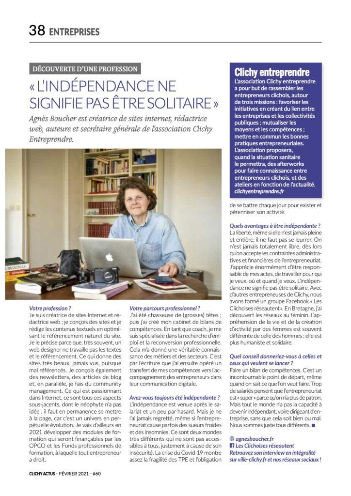 Agnès Boucher est dans ClichyActus